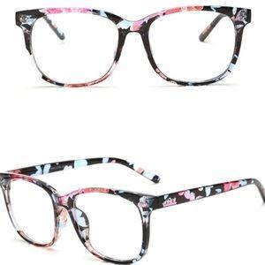 Black Floral Clear Lenses Glasses NWOT